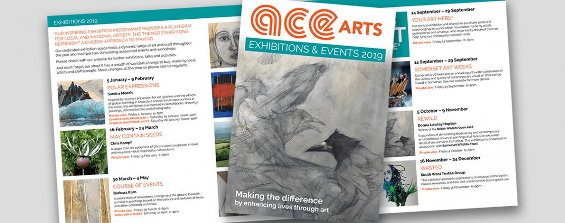 ACEarts exhibitions leaflet 2019